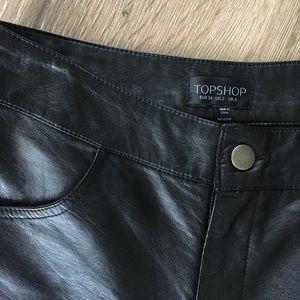 Topshop faux leather black shorts 2